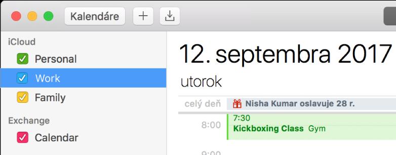 Okno aplikácie Kalendár vzobrazení dňa znázorňujúce farebne kódované osobné, pracovné arodinné kalendáre vpostrannom paneli pod hlavičkou iCloud účtu aďalší kalendár pod hlavičkou Exchange účtu.