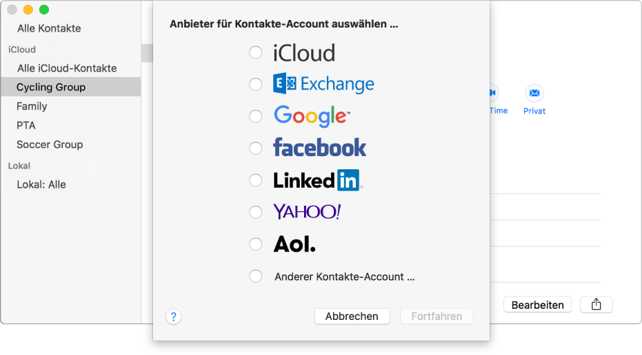 "Das Fenster zum Hinzufügen von Internetaccounts zur App ""Kontakte"