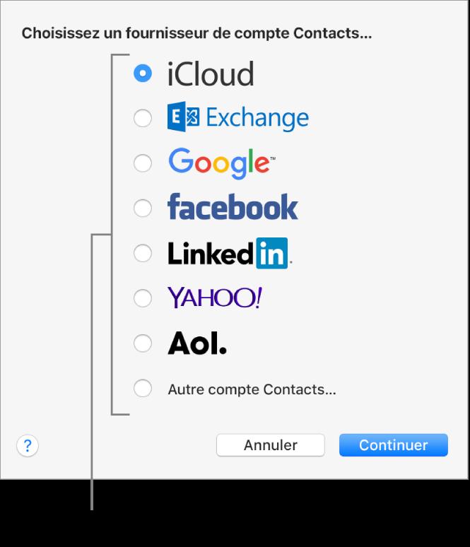 Fenêtre permettant d'ajouter des comptes Internet à l'app Contacts.