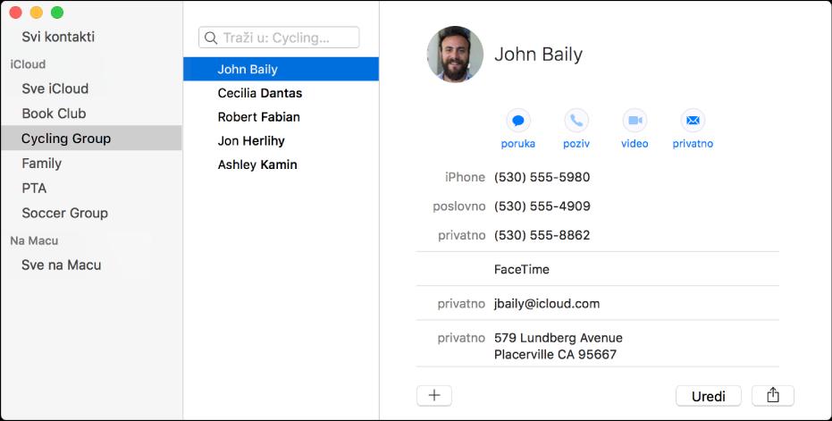 Prozor aplikacije Kontakti prikazuje rubni stupac s grupama poput grupe Književni klub ili Biciklistički tim i tipku na dnu kartice kontakta za dodavanje novog kontakta ili grupe.