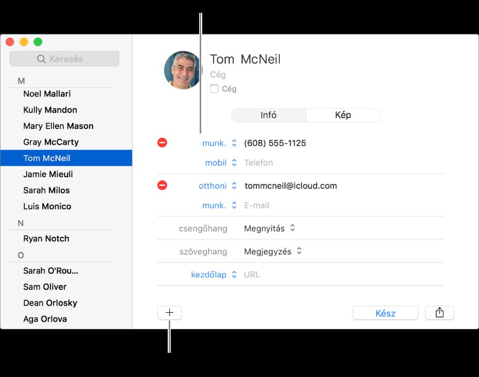 Kontaktkártya egy módosítható mezőcímkét megjelenítve; a kártya alján gomb látható a kontakt-, csoport- vagy kártyamező hozzáadásához.
