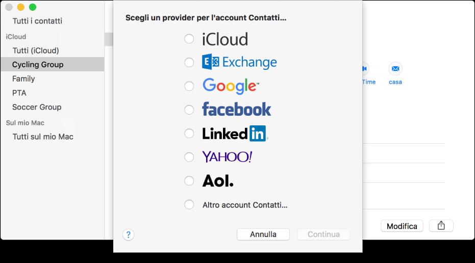 La finestra per aggiungere gli account Internet all'app Contatti.