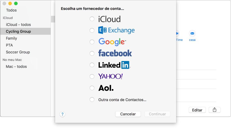 A janela para adicionar contas da Internet à aplicação Contactos.