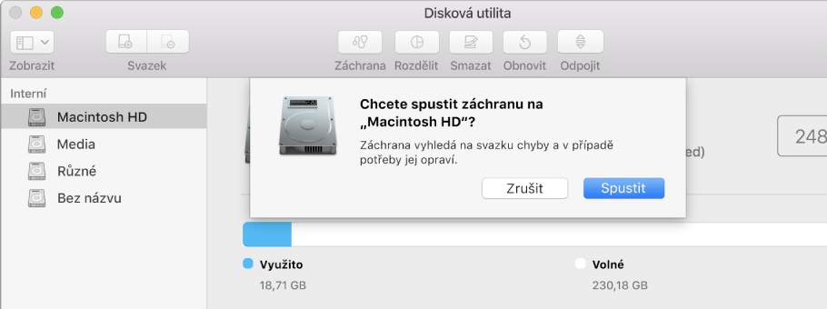 Dialogové okno Záchrana na nástrojovém panelu Diskové utility