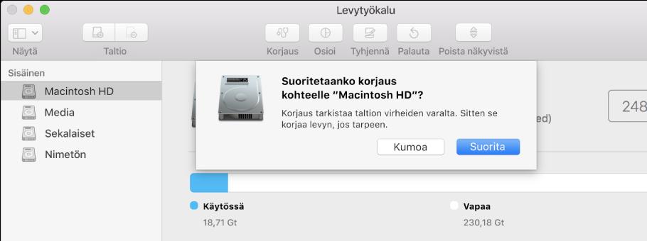 Korjaus-valintaikkuna Levytyökalun työkalupalkissa.