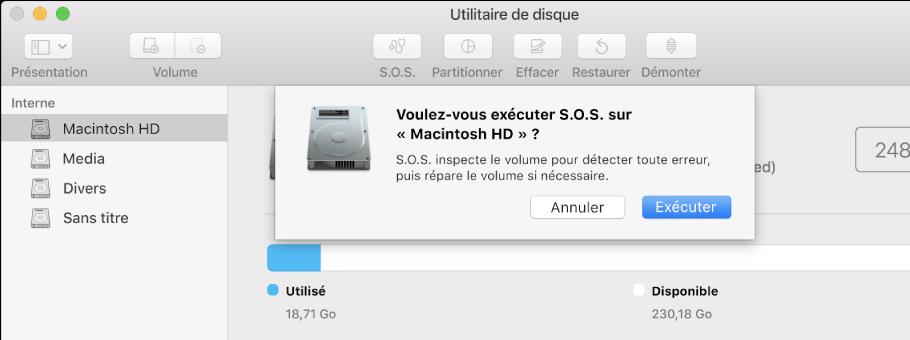 La zone de dialogue S.O.S. dans la barre d'outils d'Utilitaire de disque.