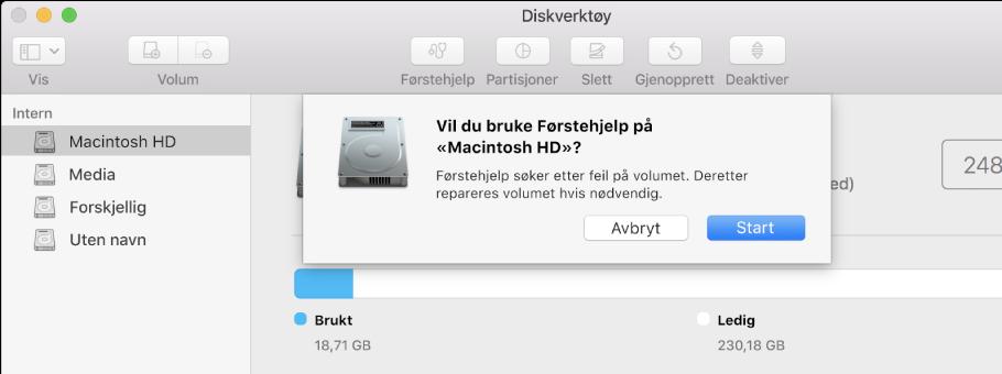 Førstehjelp-dialogruten i Diskverktøy-verktøylinjen.