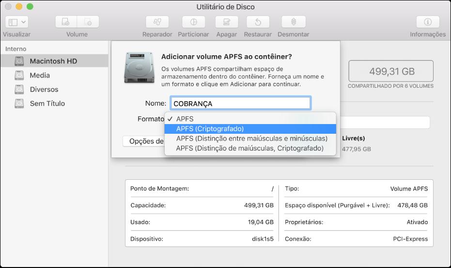 A opção APFS (Criptografado) no menu Formatar.