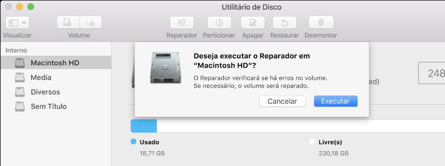 O diálogo Reparador na barra de ferramentas do Utilitário de Disco.