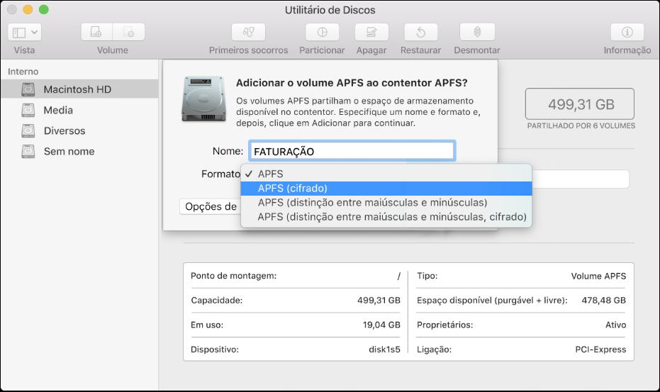 A opção APFS (cifrado) no menu Formato.