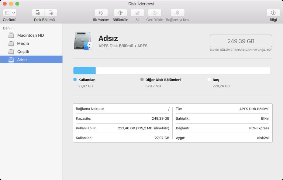 Disk İzlencesi kenar çubuğunda APFS kapsayıcısında üç disk bölümü.