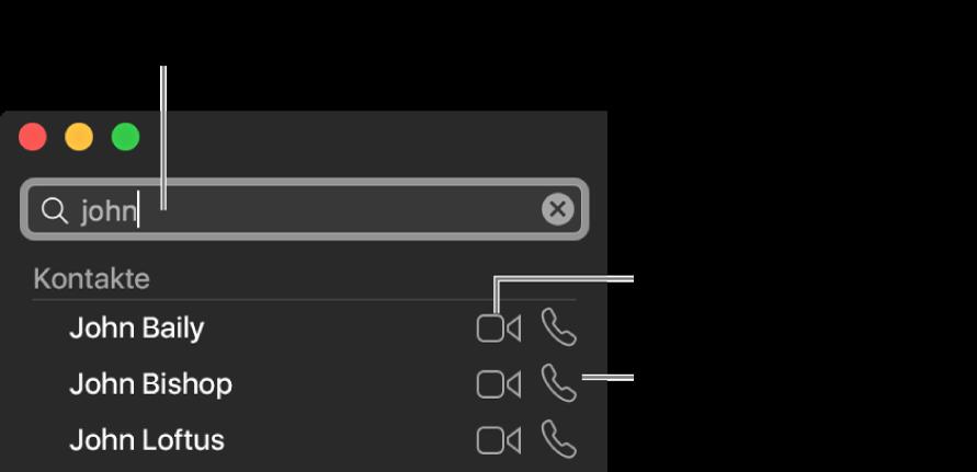 """Gib einen Namen, eine Rufnummer oder eine E-Mail-Adresse in die Suchleiste ein. Klicke auf die Taste """"Video"""", um einen FaceTime Videoanruf zu tätigen. Klicke auf die Audiotaste, um einen Audioanruf oder ein Telefongespräch zu führen."""