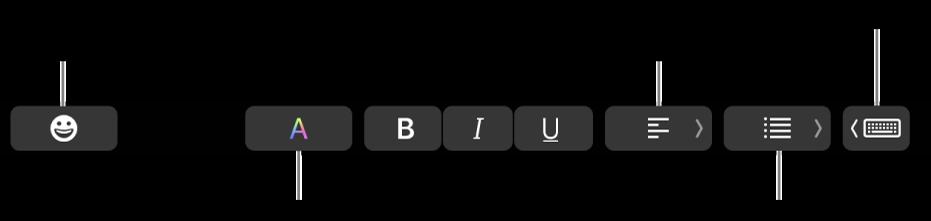 TouchBar, jossa on vasemmalta oikealle Mail-apin painikkeet: emojit, värit, lihavointi, kursivointi, alleviivaus, tasaus, luettelot ja kirjoitusehdotukset.