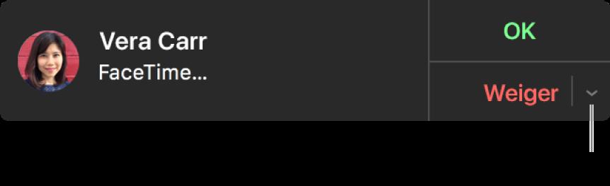 Klik op de pijl naast 'Weiger' in de melding om een tekstbericht te sturen of een herinnering aan te maken.