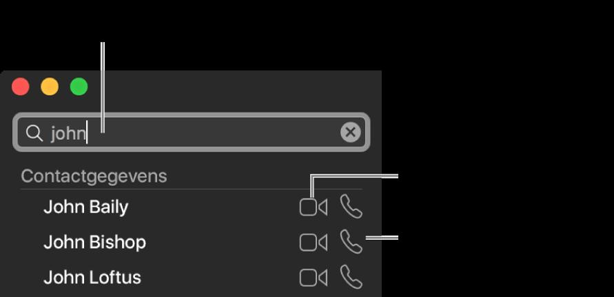 Voer in de zoekbalk een naam, telefoonnummer of e-mailadres in. Klik op de videoknop om een videogesprek te starten met FaceTime. Klik op de knop 'Audio' om een audio- of telefoongesprek te starten met FaceTime.