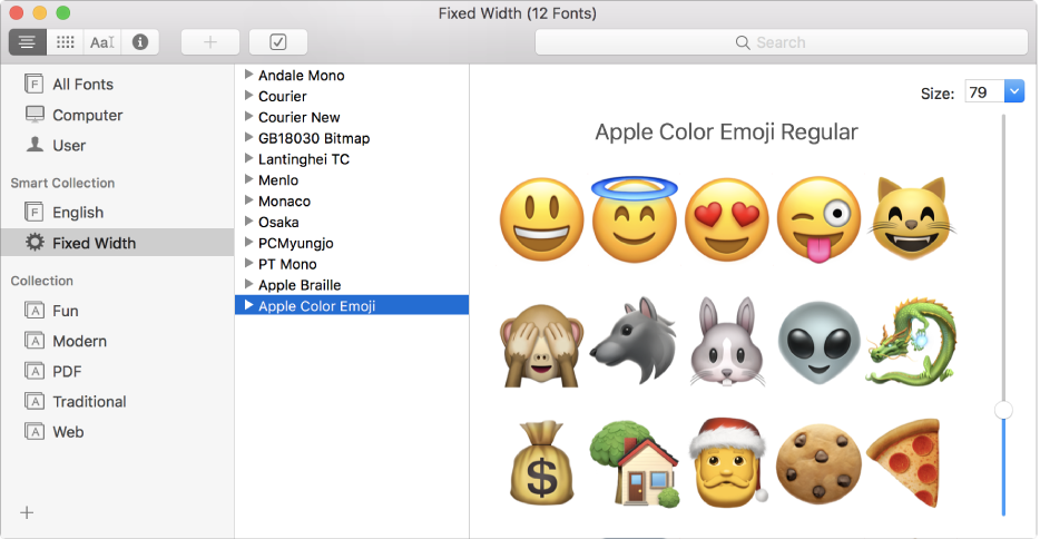 The Font Book window showing the Apple Color Emoji font.