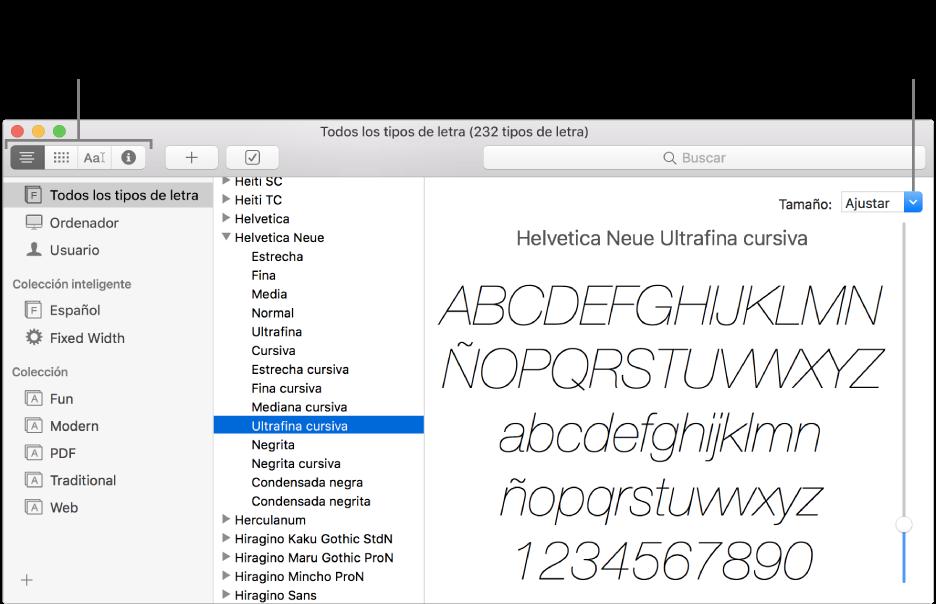 La ventana de Catálogo Tipográfico con botones en la parte superior izquierda para seleccionar el tipo de previsualización del tipo de letra y un regulador vertical en el extremo derecho para cambiar el tamaño de la previsualización.