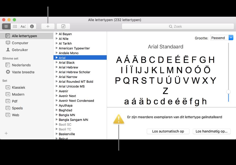 Het venster van Lettertypecatalogus met in de knoppenbalk de plusknop waarmee je lettertypen kunt toevoegen. Een geel waarschuwingssymbool linksonderin geeft aan dat er dubbele lettertypen zijn.