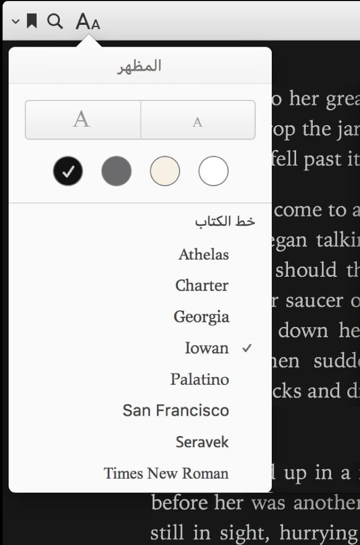 قائمة المظهر ويظهر بها حجم النص ولون الخلفية وعناصر التحكم في الخط.