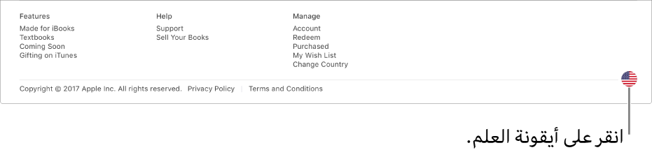 أيقونة العلم موجودة في الزاوية السفلية اليسرى من iBooksStore.