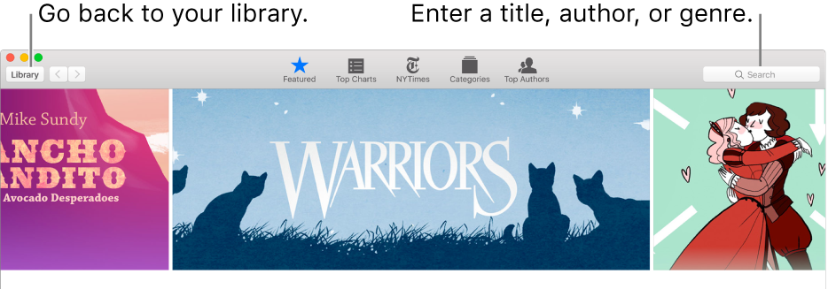 The toolbar in the iBooks Store. Click Library to go back to your library.