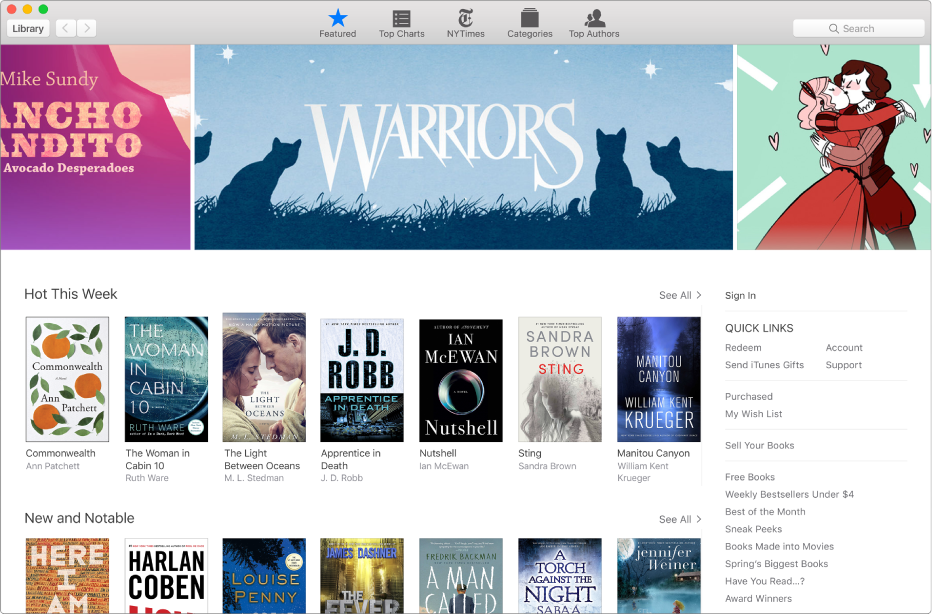 The Featured area of the iBooks Store.