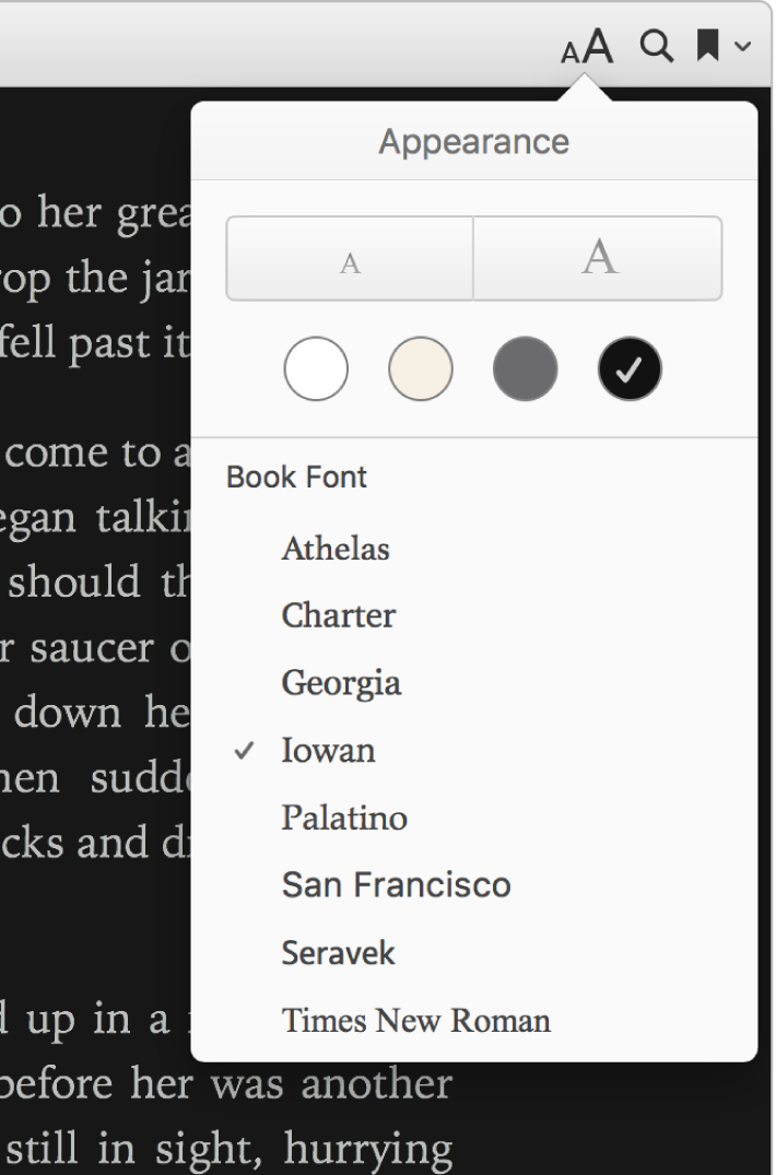 The text size, background color, and font controls in the Appearance menu.