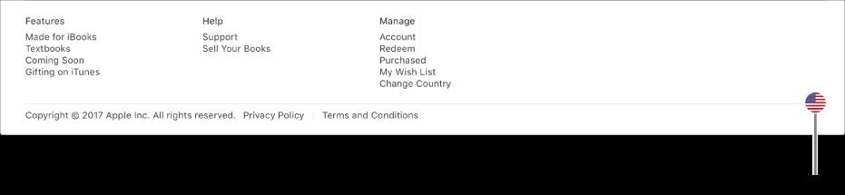 Icône de drapeau dans le coin inférieur droit de l'iBooksStore.