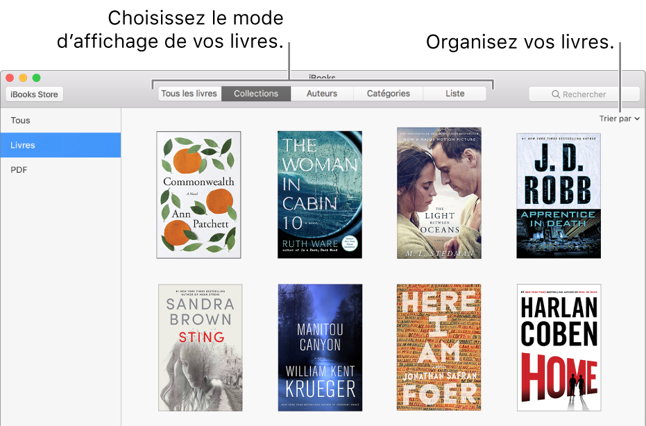 Une collection de livres dans la bibliothèque iBooks.