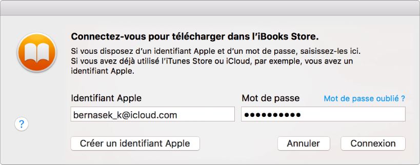 La zone de dialogue permettant de se connecter à l'aide d'un identifiant Apple et d'un mot de passe.