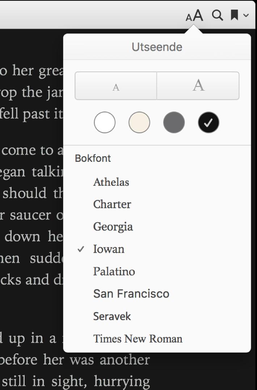 Tekststørrelsen, bakgrunnsfargen og fontkontrollene i Utseende-menyen.