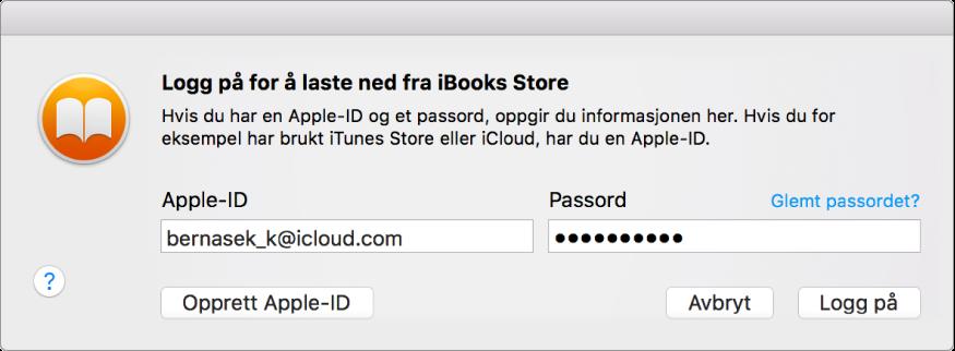 Dialogruten for å logge på med Apple-ID og passord.
