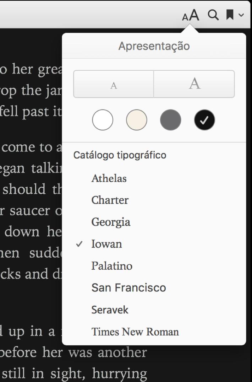 Os controlos de tamanho do texto, cor de fundo e tipo de letra no menu Apresentação