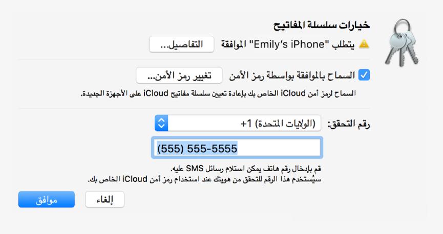 مربع الحوار خيارات سلسلة مفاتيح iCloud مع اسم الجهاز الذي يطلب الموافقة وزر التفاصيل بجواره.