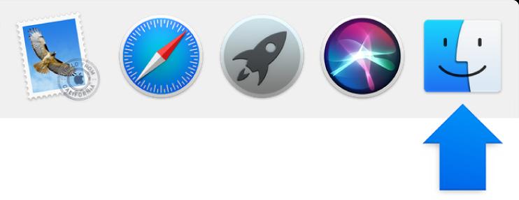 سهم أزرق يشير إلى أيقونة Finder على الجانب الأيسر من الـ Dock.