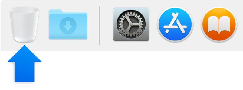 سهم أزرق يشير إلى أيقونة سلة المهملات في الـ Dock.