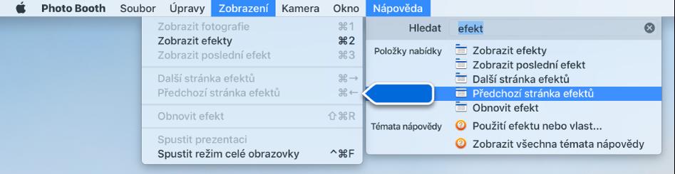 Nabídka Nápověda pro Photo Booth svýsledky vyhledávání pro vybranou položku nabídky ašipkou ukazující na tuto položku vnabídkách aplikace