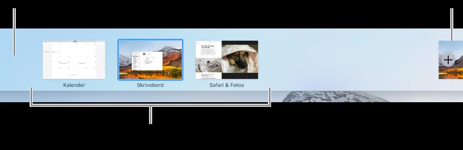 Spaces-linjen, der viser et skrivebordsområde, programmer på fuld skærm og i Split View, og knappen Tilføj til oprettelse af et område.