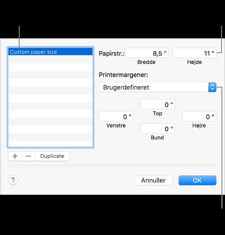 Klik på knappen Tilføj for at tilføje en ny papirstørrelse. Du kan ændre navnet på din specielle papirstørrelse ved at dobbeltklikke på navnet og skrive et nyt. Vælg en printer på lokalmenuen for at bruge dens standardmargener, eller skriv specielle værdier i felterne nedenfor.