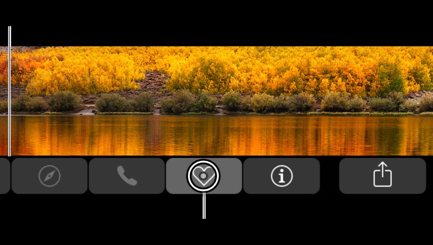 Den zoomede Touch Bar langs bunden af skærmen. Cirklen over en knap ændres, når knappen vælges.