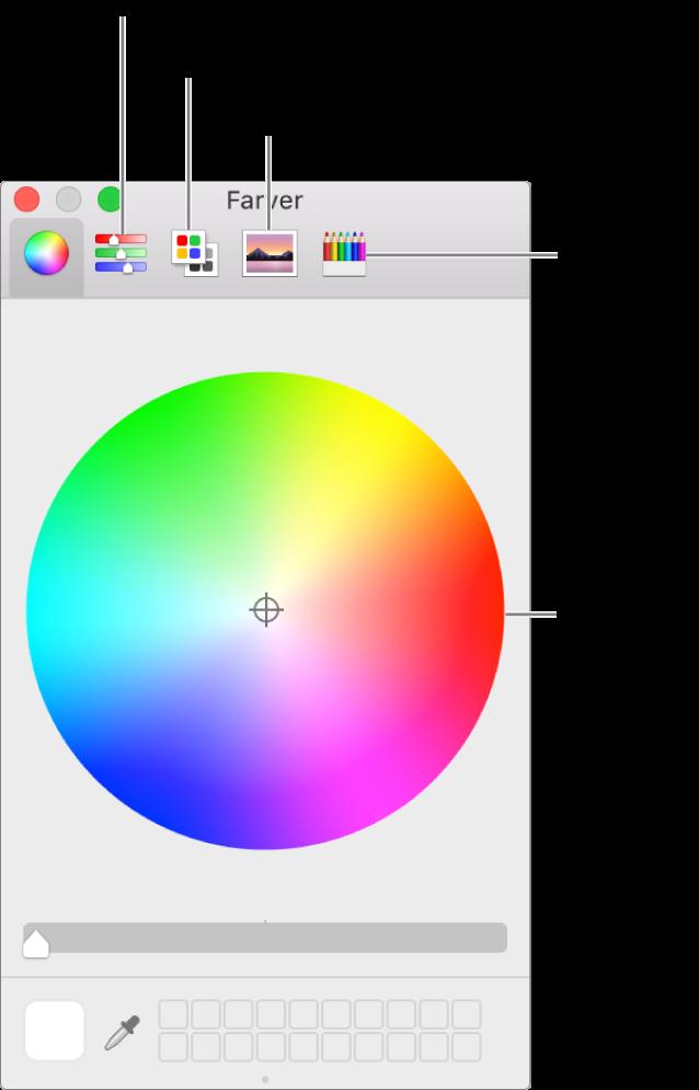 Farvevinduet viser knapper til farvemærker, farvepaletter, billedpaletter og blyanter på værktøjslinjen og i farvehjulet.