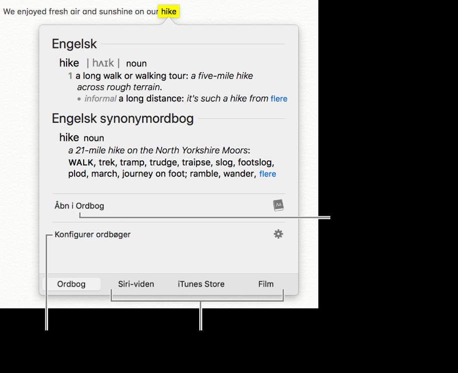 Vinduet Slå op viser ordbogs- og synonymordbogsdefinitioner for et ord.