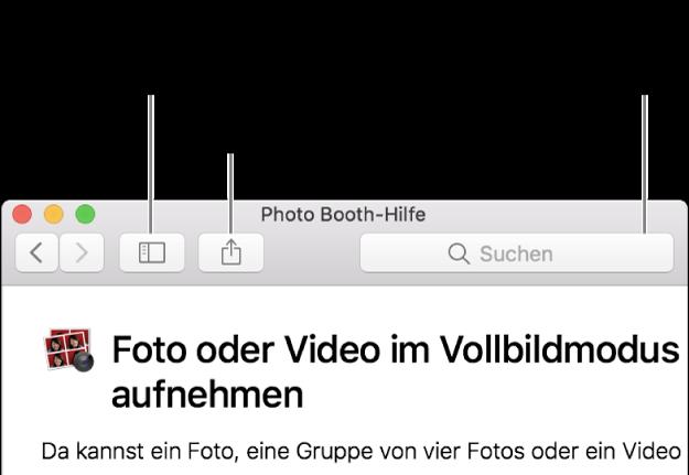 """Ein Fenster """"Hilfe"""" und einer Taste in der Symbolleiste zum Einblenden weiterer Hilfethemen, einer Taste zum Teilen eines Themas und dem Suchfeld zum Suchen in der Hilfe auf deinem Mac"""