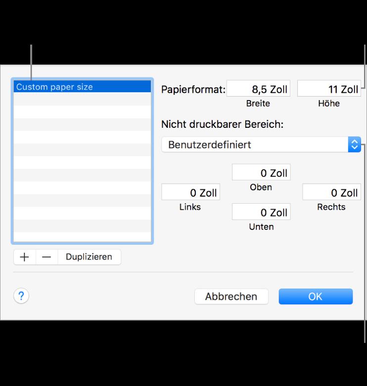 """Klicke auf """"Hinzufügen"""", um ein neues Papierformat hinzuzufügen. Doppelklicke auf den Namen eines eigenen Papierformats, wenn du dessen Namen ändern willst, und gib den gewünschten neuen Namen ein. Wähle einen Drucker aus dem Einblendmenü aus, dessen standardmäßige Randeinstellungen verwendet werden sollen, oder gib eigene Werte in die Felder unten ein."""