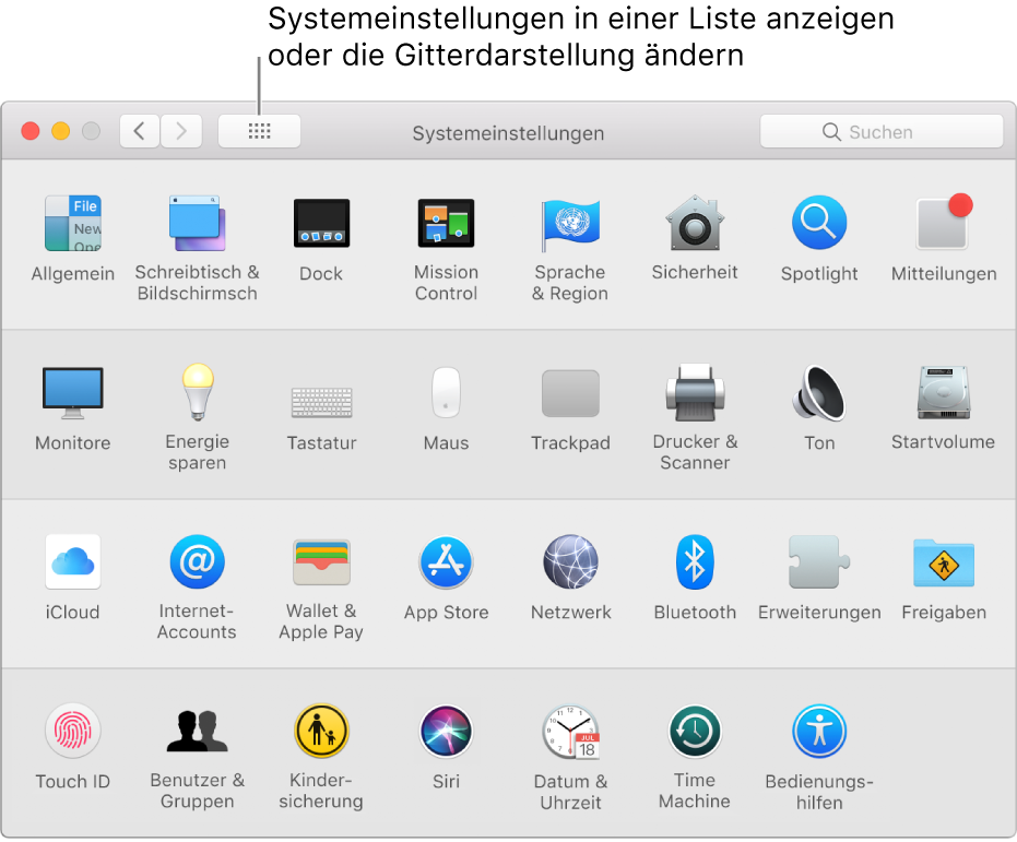 """Fenster der Systemeinstellungen mit einem Raster der Symbole. Klicke auf die Taste """"Alle anzeigen"""" in der Symbolleiste des Fensters, um die Systemeinstellungen als Liste anzuzeigen, oder ändere das Erscheinungsbild des Rasters."""