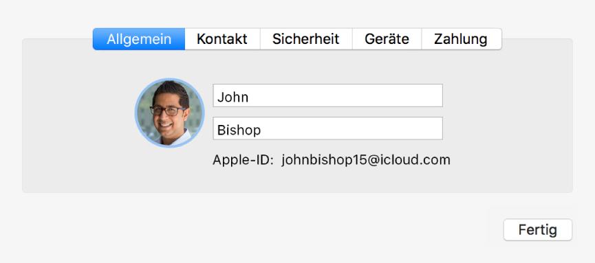 """Dialogfenster """"Accountdetails"""" in der Systemeinstellung """"iCloud""""."""