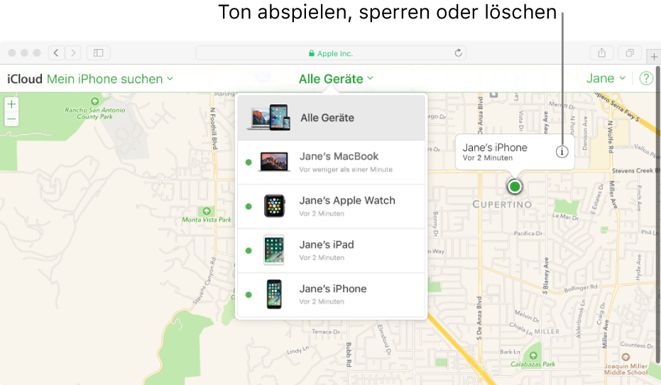 """Eine Karte in """"Mein iPhone suchen"""" auf iCloud.com, die den Standort eines Mac anzeigt"""