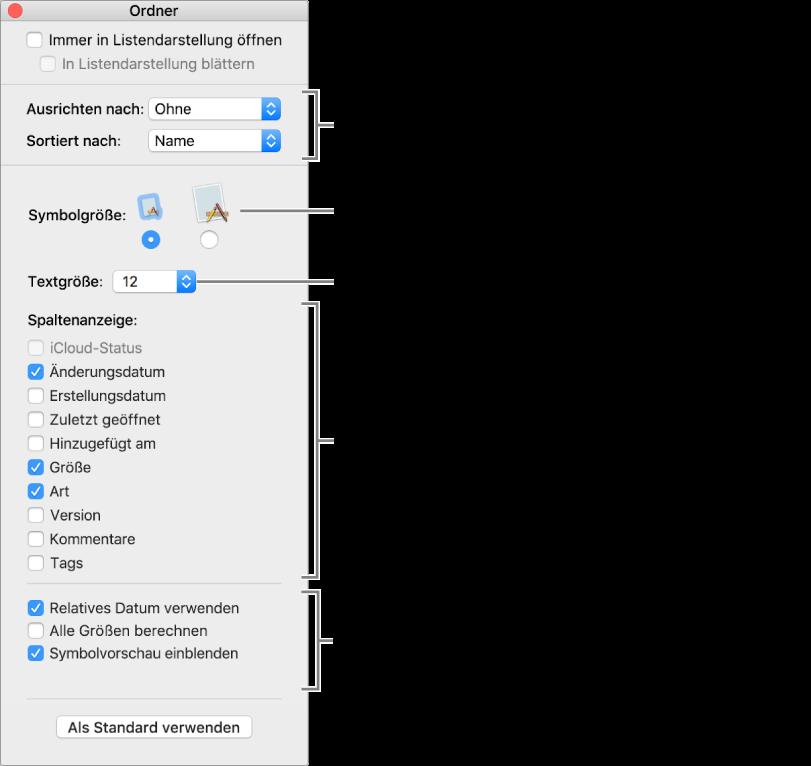 Ein Fenster mit Optionen für Listendarstellung und Cover Flow