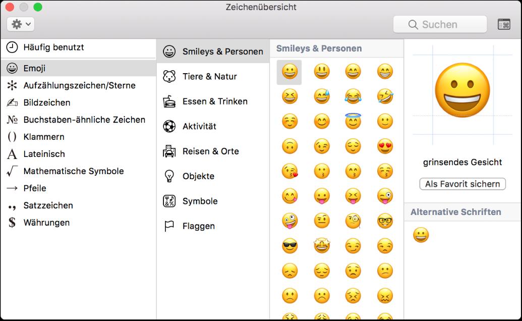 Die Zeichenübersicht mit Emoji und Symbolen.
