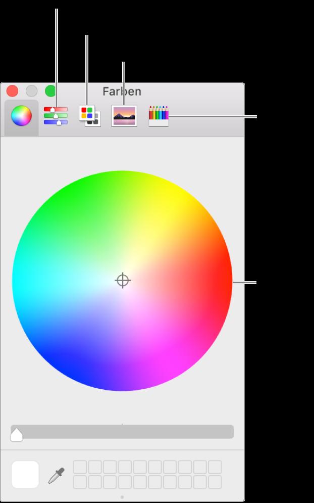 """Das Fenster """"Farben"""" mit den Tasten für Farbregler, Farbpaletten, Bildpaletten und Stifte in der Symbolleiste und dem Farbrad."""